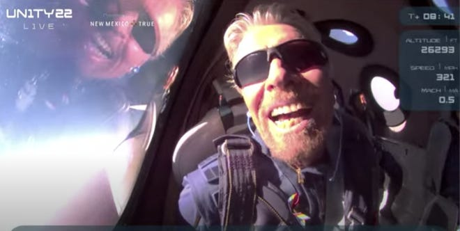 Virgin Galactic CEO Richard Branson onboard SpaceShipTwo after reaching space on July 11, 2021.