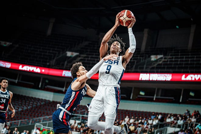Purdue sophomore Jaden Ivey playing for Team USA at FIBA U19 World Cup against France