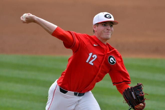 Georgia pitcher Jonathan Cannon (12) during a game against Tennessee at Foley Field in Athens, Ga., on Sunday, March 21, 2021. (photo by Rob Davis)
