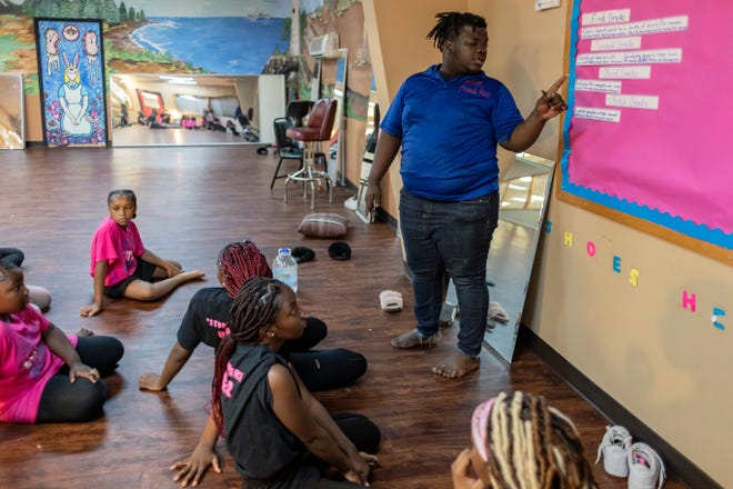 Founder of Explosive Elite Dance Company Jeremiah Parks coaches his students during a practice session on Thursday, July 8, 2021. Parks aims to help his students become spiritual and community leaders, not just good dancers.