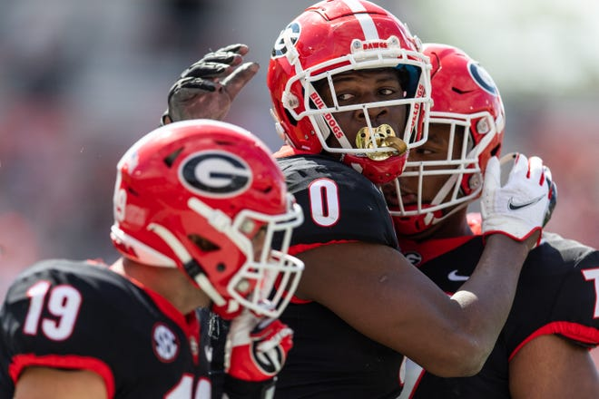 Georgia tight end Darnell Washington (0) celebrating a touchdown during G-Day on Dooley Field at Sanford Stadium in Athens, Ga., on Saturday, April 17, 2021. (Photo by Mackenzie Miles)