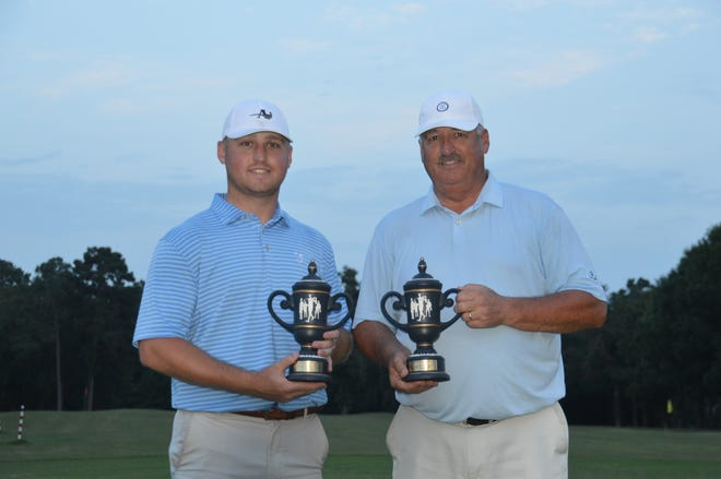 Derick (left) and Kyle Kelting won the first playoff hole to claim the Texas Father-Son title Sunday at Crown Colony Country Club in Lufkin. Derick (son) recorded a birdie, while Kyle (father) tallied par to clinch the playoff hole for the Keltings as they defeated Matt and Will Griffin of San Antonio on the first playoff hole.