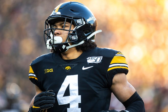 """Iowa's Dane Belton knows where he wants to end up: in the NFL. """"Football is a challenging sport in and of itself, but coming into a higher platform in college knowing what it takes to be a collegiate athlete, you have to have that motivation that you want to go beyond,"""" said Belton, who has started 12 games over the past two years."""