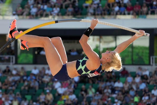 Katie Nageotte competes in the women's pole vault during the US Olympic Team Trials on June 26 at Hayward Field in Eugene, Oregon.
