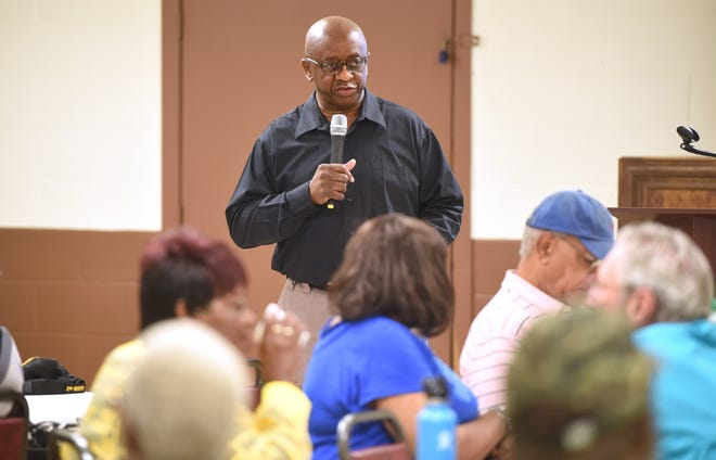 Commissioner Sammie Sias speaking at the Jamestown Community Center in 2019. Gov. Brian Kemp suspended him from office after a committee reviewed documents filed in a federal indictment against Sias.