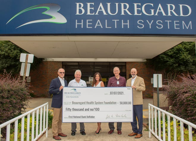 Pictured (left to right): John Nichols, Chief Executive Officer and Chairman of the Board,  FNBD; Leon Lagneaux, Beauregard Health System Foundation Business Committee Chair; Kelli C. Broocks, Chief Development and Resource Officer, BHS; Darrell Kingham, Chief Financial Officer, BHS; Robie Touchette, SVP and Regional President of Beauregard Parish, FNBD.