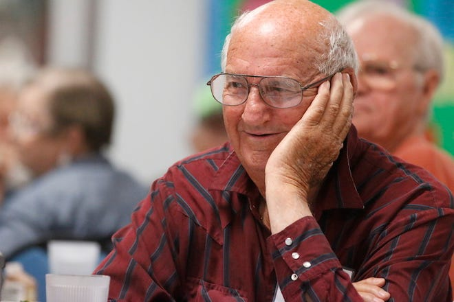 John Franklin relaxes at a table in the Brownwood Senior Citizens Center Monday, a few minutes before seniors began enjoying hot lunches.