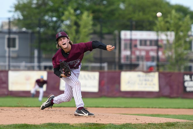 Cotuit Kettleers pitcher Quinn Matthews throws in the top of the first inning against the Falmouth Commodores on Sunday at Guv Fuller Field in Falmouth.