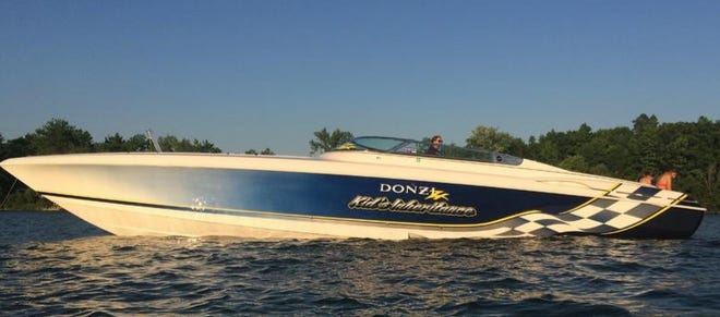 The high-performance, 45-foot Donzi speed boat owned and operated by Michael Battley that was involved in a fatal accident Saturday, July 10 on Seneca Lake. Yates County Sheriff Ron Spike asks anyone who witnessed the event or took photographs who has not yet been interviewed by Deputies, to please call the Yates County Sheriff's Office at 315-536-4438 or email: sheriff@yatescounty.org.
