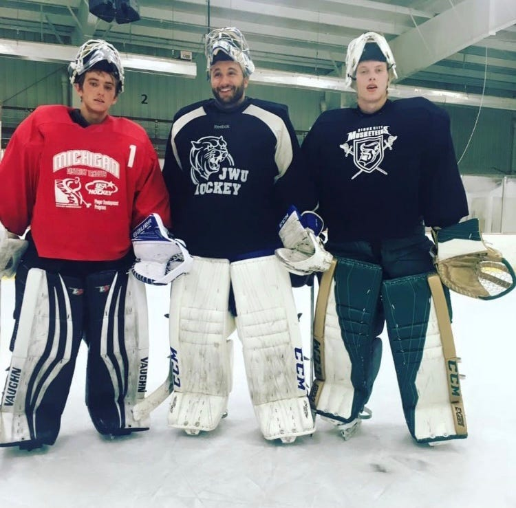 Matiss Kivlenieks, right, poses with friends Hunter Vorva, left, and Joey Ballmer, middle. Kivlenieks split starts with Vorva while playing for the Coulee Region Chill of the North American Hockey League in 2015-16.