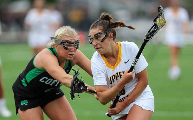 Dublin Coffman's Abigail Elliott (left) and Upper Arlington's Ava Walters were selected to compete in the Ohio High School Girls Lacrosse Coaches Association's state all-star games July 24 at Worthington Kilbourne.
