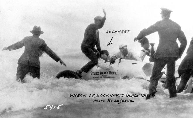 Richard Lockhart's car skidded out into the ocean while attempting a speed record Feb. 11, 1928. A rare action shot from LeSesne .