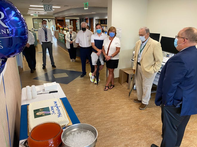 The Medical/Surgical Unit renovation project at Noyes Health in Dansville was kicked off with a small get together on the third floor Thursday afternoon. Cake was served to everyone in the hospital to celebrate the project's beginning.