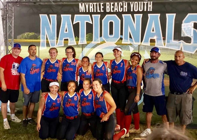 Players and coaches of the Phantoms 16U travel team are wll smiles after going undefeated at a prestigious national softball tournament in Myrtle Beach (SC). The locally-based ballclub finished 6-1 overall, losing by just one run to the eventual champs. Pictured are (first row, from left): Vanessa Hodges, Amaya Yarrish, Makayla Cobourn, Dana Donnelly. Second row: Assistant Coach Mike Donnelly, Head Coach Steve Pinto, Dakota Hubbard, Lily Gonzalez, Maria Maglione, Lexi Pinto, Peyton Ryder, Klayre Yarrish, Assistant Coach Erick Cobourn, Assistant Coach Dominic Maglione.