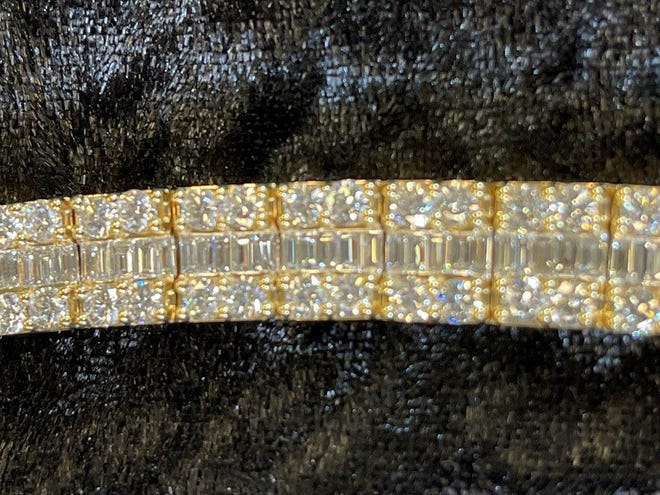 A closeup of the diamond tennis bracelet appraised at $45,350 up for auction by the Jacksonville Sheriff's Office via the online auction site govdeals.com.