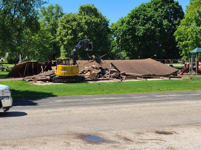 The pavilion in Veteran's Park was razed to make room for a new structure.  The project is now on hold, waiting for an answer from the IDNR  on an extension for the grant.