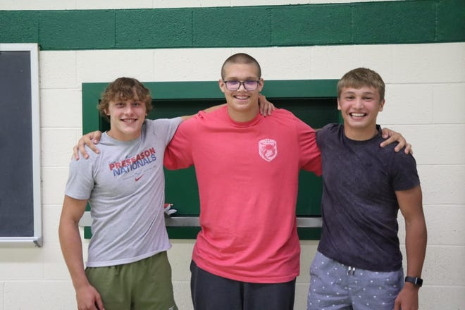 The 2021 Geneseo Wrestling Special Awards went to Bruce Moore, Desire Award and Co-MVP; Levi Neumann, Most Improved; Anthony Montez, Co-MVP. Moore and Montez were also category leaders for the team in Wins, Team Points, Falls and Takedowns.