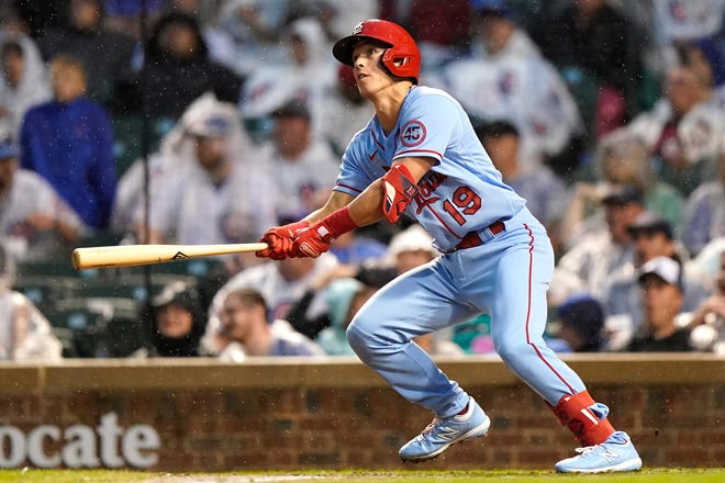 St. Louis Cardinals outfielder Tommy Edman watches his two-run home run during the fifth inning of a game against the Chicago Cubs in Chicago on Saturday, July 10, 2021.