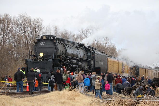 A crowd stands as the Big Boy No. 4014 stops in Hays in November 2019. The 1.2 million-pound Union Pacific locomotive will stop in Hays again this September