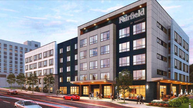 A revised rendering of the Fairfield Inn and Suites, a Marriott brand, which was approved by the city in the spring. Spartanburg City Council on Monday approved tax breaks for the project.