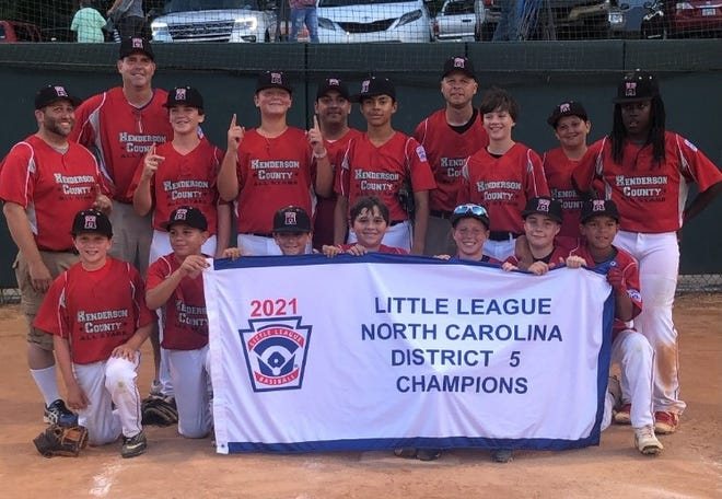 Henderson County Youth Baseball's 11-12 year old team poses after winning the District 5 title at Jackson Park last week. Pictured from left to right are, back row: Coaches Jason Tweed, Sean Lowery, Randy Gilliland;  middle row: Coach Mike McDermott, Cole Holbrook, Jack Tweed, Isaac Hernandez, Corin Davis, Jake McDermott, JaRon Ward; front row: Jake Harvey, Austin Brevard, Tyler Lowery, Sam Gilliland, Samuel Kennedy, Ezekiel Ibarra, Vincent Fiammetta.