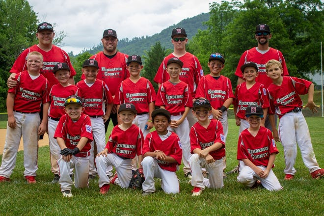 Henderson County Youth Baseball's 7-8 year-old team finished runner-up at the District tournament and ended up going 1-2 at the state tournament. From left to right are, back row: Coaches, Levi Wright, Gary Leach, Dakota Wolfe, Steven Shillinglaw; middle row: Bryce Wright, Paxton Connor, Jace Lively, Tristan Livesay, Lane Lewis, Cal King, Hayes Shillinglaw, Camden Hill; bottom row: Cameron Leach, Jacob Wolfe, Logan Myers, Jensen Lamar, Clayton Stepp.