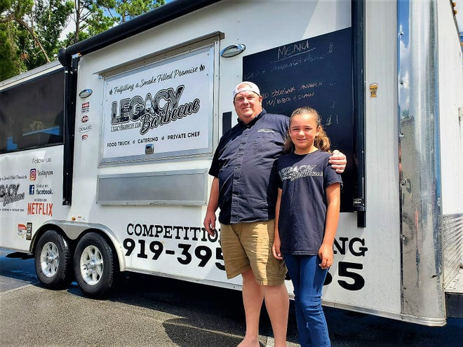 """Ashley Thompson and his girlfriend's daughter Stevie Warren promote Thompson's food truck """"Legacy BBQ"""" —  which has some seriously good 'cue — while fulfilling a smoke-filled promise to a friend."""