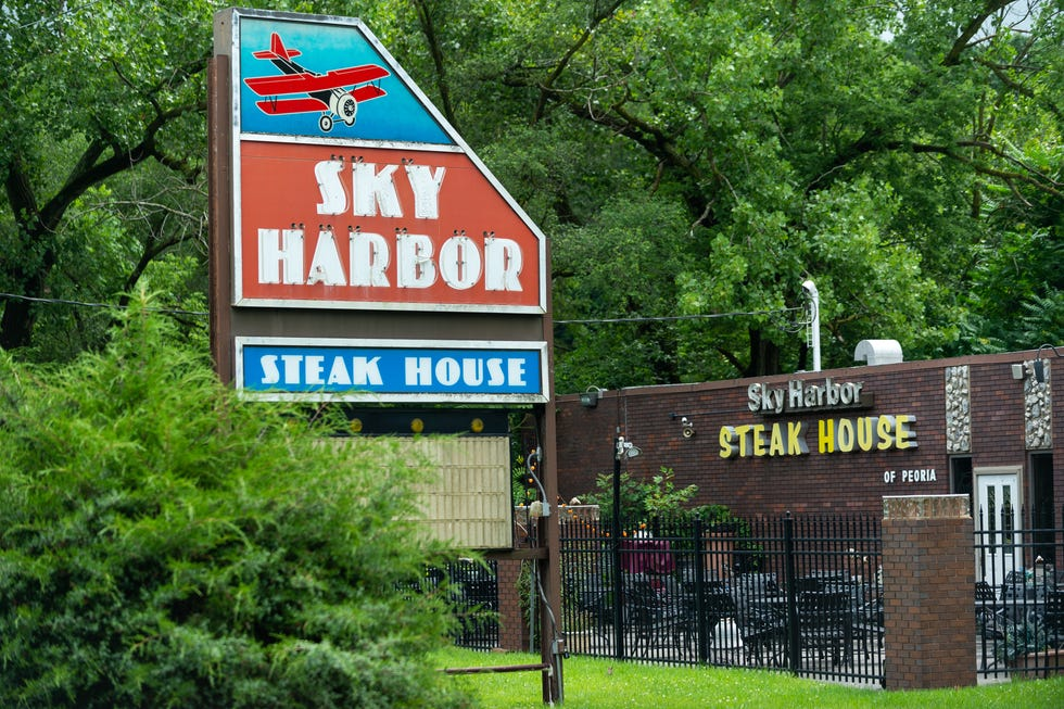 West Peoria is considering allowing a cannabis lounge to take over Sky Harbor Steak House, pictured here on Monday, July 12, 2021.