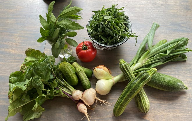 Quail Feather Farms provided this spread of lots of herbs, arugula, turnips, tomatoes, zucchini, onions, and cucumbers. These items and many other locally grown vegetables can be found weekly at the Lubbock Downtown Farmers Market through October.