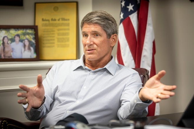 Interview with Rep. Scott Franklin at his office in Lakeland Fl. Wednesday July 7 2021.  ERNST PETERS/ THE LEDGER