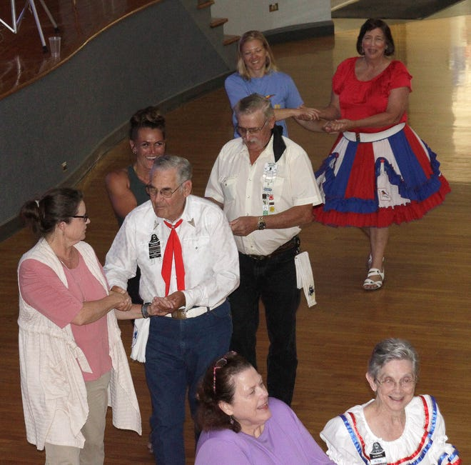 Roughly 60 persons participated in a Thursday, July 8 evening workshop to learn basic fundamentals of square dancing offered at the Moberly Municipal Auditorium. The event was free and open to the public and was co-sponsored by Little Dixie Regional Libraries and Moberly Parks and Recreation Department. Members of Little Dixie Square Dance Club were present to help teach dance moves and interact with participants.