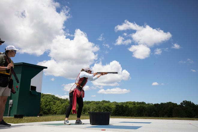 A junior Olympian shoots skeet recently at Hillsdale College.