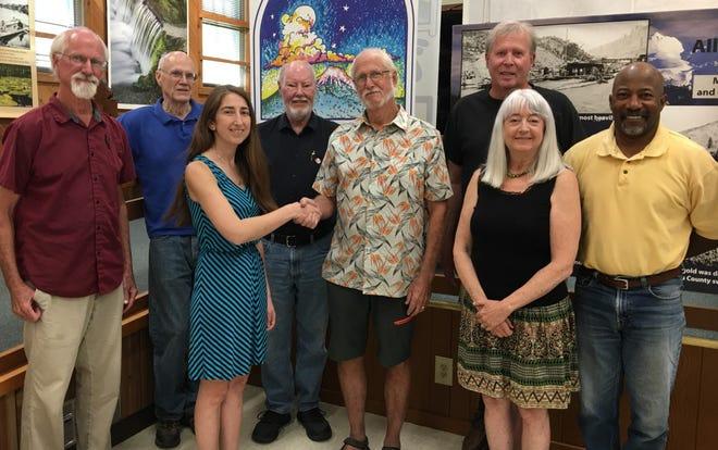 Mt. Shasta Sisson Museum Board members John McChesney, Ted Marconi, Griff Bloodhart, Jim McChesney, John Fryer, Linda Siegel, and David Tucker welcomed Dr. Rosemary Romero.