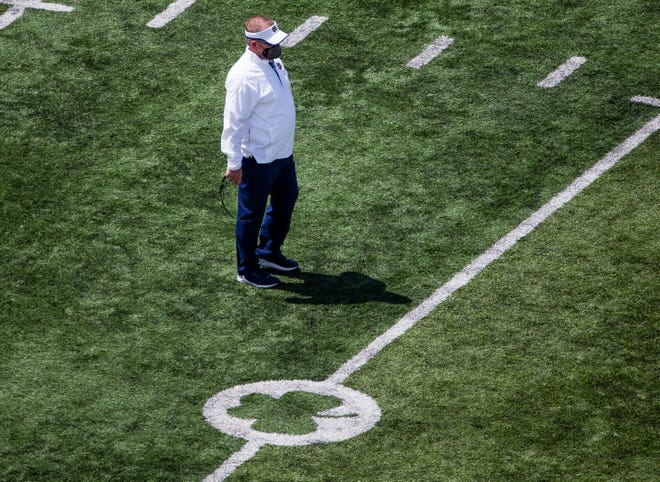 Head coach Brian Kelly, shown during the Blue-Gold game May 1, 2021 at Notre Dame Stadium in South Bend, is expected to become the program's all-time winningest coach during the upcoming season.