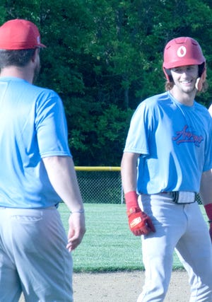 Ottawa Arrows shortstop flashes a smile after hustling into third base. The Arrows (13-18) close out the regulars season Tuesday at Leavenworth in a single nine-inning game. The Arrows are coming off a 1-3 performance in the FIKE Tournament.