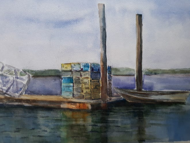 """""""Waiting at the Pier,"""" a watercolor painting by Art Guild of the Kennebunks member Mary Ann Kennedy, shows the scene at Pine Point, Scarborough."""