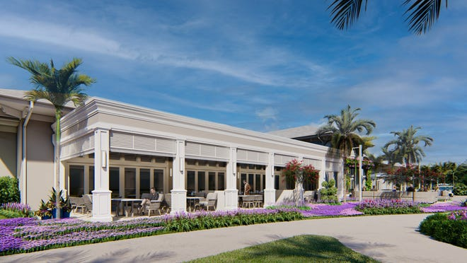 Rendering shows an expanded outside dining area that is part of a planned $8 million renovation at Delaire Country Club that will be undertaken next year.
