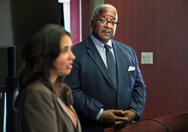 Mayor Keith James listens as Public Utilities Director Poonam Kalkat talks about the formation of a panel of experts that will give the city guidance on how to deal with blue-green algae toxin, at West Palm Beach City Hall Friday, June 25, 2021.