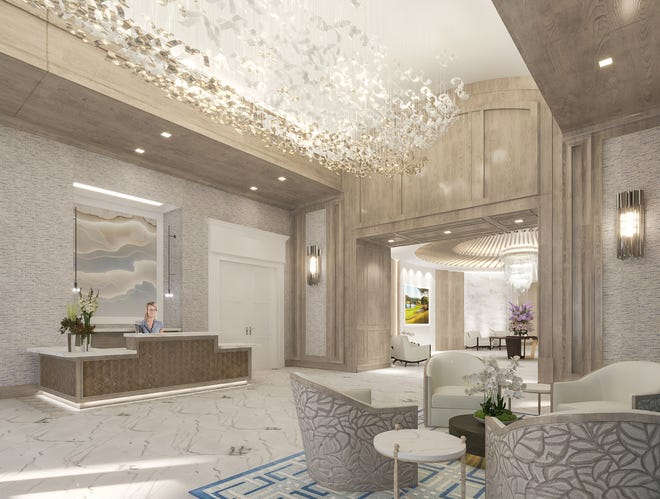 Rendering shows what the renovated lobby will look like at Delaire Country Club after an $8 million renovation is completed next year.