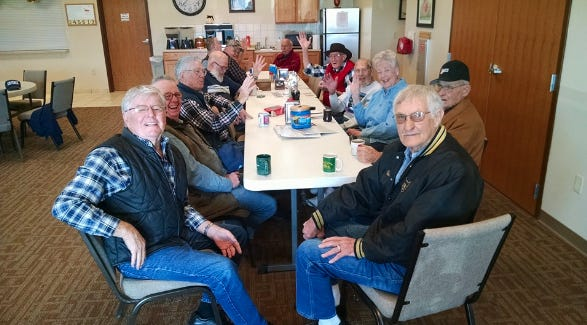 Kiowa County seniors often enjoy coffee hour at the center in Greensburg.