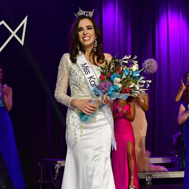 Miss Augusta Taylor Clark tearfully accepts the crown and sash of 2021 Miss Kansas on Saturday in Pratt.