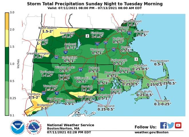 Much of Rhode Island could get up to an inch of rain.