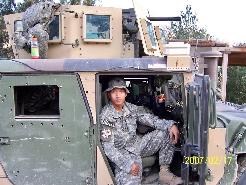 Vanna Nhem in a Humvee with a mounted MK-19 gun in the Chowkay Valley in February 2007.