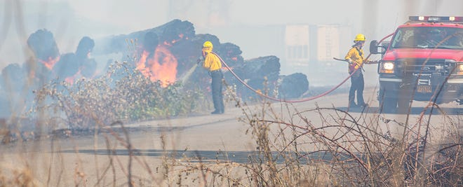 Firefighters spray down brush to dampen the area around the log decks and keep them from spreading on Monday, July 12, 2021. The brush fire on Milliron Road in Junction City has left a plume of smoke and burning log decks in its wake as firefighters in the area contain the burn.