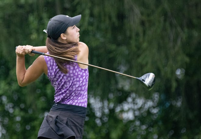 Grace May watches her tee shot during The First Tee tournament at The Sanctuary on Monday.