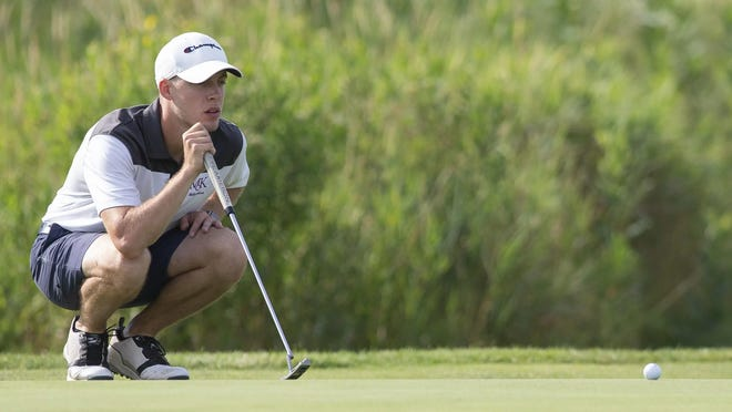 Cody Rhymer, shown lining up a putt in last year's Men's City golf tournament, won the County Amateur on Sunday for his second local golf win.