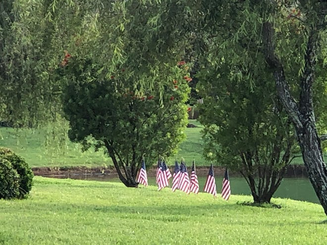 Gentle backyard patriotic scene in World Golf Village for July 4th.