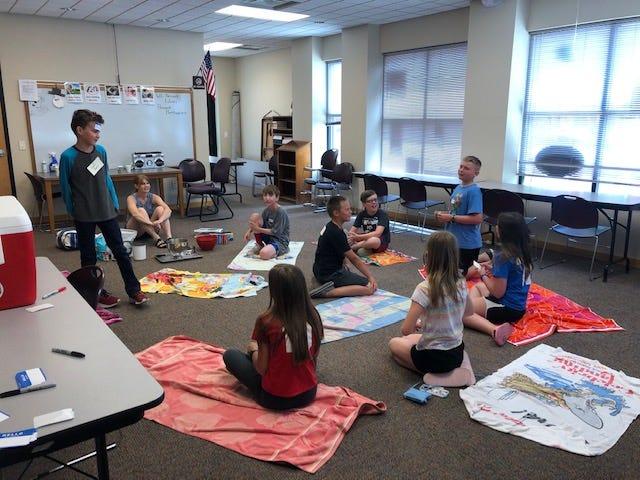 Bertha Bartlett Public Library's Tween Team works on an ice cream project.