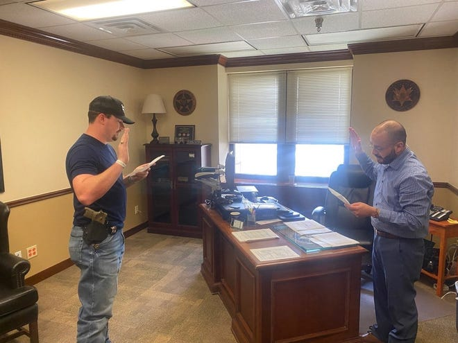 Sheriff Matt Coates and the Erath County Sheriff's Office recently recognized a deputy on an accomplishment. Deputy Cameron Chance was sworn in to the U.S. Marshals program as a Special Deputy U.S. Marshal. Deputy Chance will be assigned to a U.S. Marshal Task force assisting them in serving the citizens of Erath County.