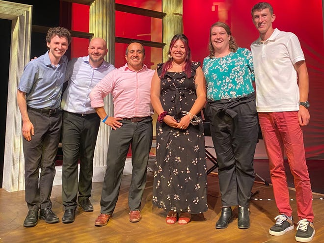 """Norma Botello, third from right, an Austin, Texas, resident who took six levels of improv classes online through Florida Studio Theatre, made a brief visit to Sarasota and met members of the FST Improv """"Triple Play"""" class, from left, Kyle Van Frank, Kevin Allen, Director of Improvisation Will Luera, Sarah Durham and Sergei Glushonkov."""
